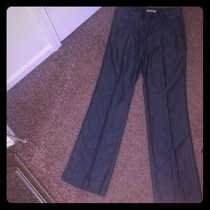 Lightweight wide leg chambray jeans